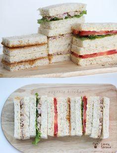 3 Tea Sandwich Recipes - Tuna, Tomato, Peanut Butter & Jelly - Eugenie Kitchen