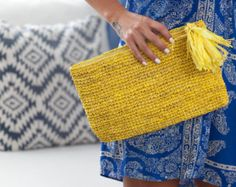 Raffia Clutch, Tassel Beach Purse, Boho Clutch, Grey Purse, Ethnic Style Purse by MOOSSHOP