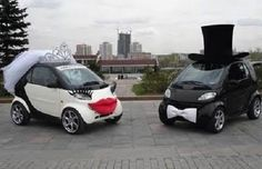 Couple Cars!! Too cute(: Wedding Smart Cars Lips, lashes, veil, crown, top hat, bow tie Car accessories Black, white, read