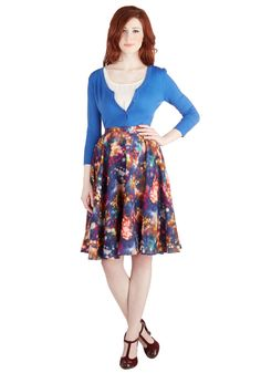 Ikebana for All Skirt in Lights. Shape, line, and form unfold fashionably as you drift under the downtown Tokyo lights in this lusciously smooth,Bea  Dot A-line skirt, available exclusively at ModCloth. #multi #modcloth