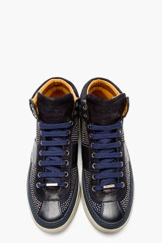 quality design 0d3df 0a978 JIMMY CHOO Black leather  suede studded belgravia sneakers Shoe Closet,  Jimmy Choo, Shoes