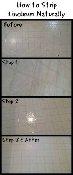 Strip your linoleum floor naturally and frugally with products in your kitchen cabinet. http://www.realthekitchenandbeyond.com/how-to-strip-linoleum-naturally/ | Real: The Kitchen and Beyond