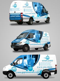 Gopher Laundry Van Design by randy mic Laundry Logo, Laundry Design, Van Design, Logo Design, Vehicle Signage, Vehicle Branding, Truck Lettering, Laundry Business, Vinyl For Cars