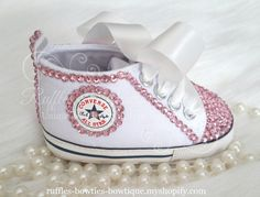 White Crystal Baby Converse High Tops - Crystal Shoes - Pre Walker Shoes - Baby Girl Shoes - Wedding - Christening - Baptism - Baby - Pink Crystals
