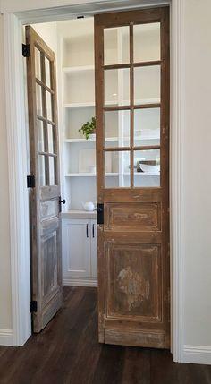 Laundry Room Doors, Bathroom Doors, Bathroom Ideas, Bathroom Windows, Wood Bathroom, Bathroom Storage, Kitchen Storage, Pantry Design, Kitchen Design