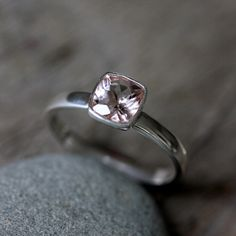 Sterling Silver Morganite Cushion Gemstone Ring.     There's a 14k white gold version available too.