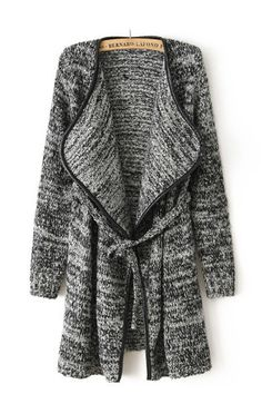 Blending Wool Belted Open Front Sweater