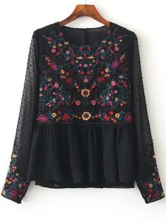 Shop Black Floral Embroidery Mesh Blouse online. SheIn offers Black Floral Embroidery Mesh Blouse & more to fit your fashionable needs.