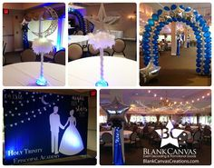 under the stars prom theme Sweet 16 Themes, Sweet 16 Decorations, Ball Decorations, School Dance Decorations, Starry Night Prom, Prom Themes, Prom Decor, Balloon Columns, Star Party