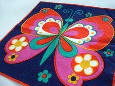 Vintage handkerchief 1970s butterfly hankie unused by RetroDelia