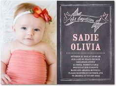 Chalkboard Cherish: Soft Pink - Baptism, Christening Invitations in Soft Pink