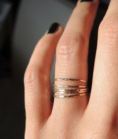 5 gold filled dainty teeny tiny stacking rings / por RockElegance