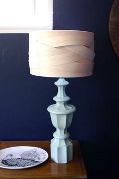 DIY balsa wood lamp shade. You could follow the same process using any thin, pliable material.