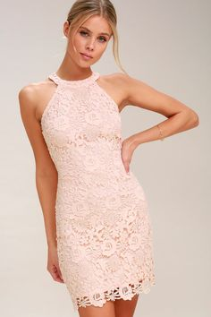 You'll be collecting notes from secret admirers right and left when you don the Love Poem Blush Pink Lace Dress! Lively pattern of floral lace atop comfy knit fabric.