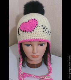 """Одежда для девочек, ручной работы. Ярмарка Мастеров - ручная работа шапочка из полушерсти """" я люблю тебя"""". Handmade."""