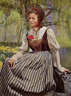 Zug traditional outfit. I could use the stripes in the dress as a pattern for a design.