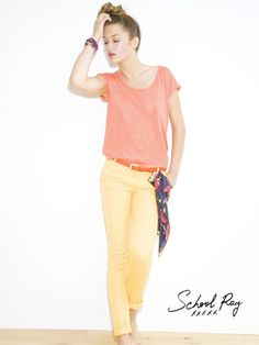 #Sun #Spring #Colors ! Look By School Rag : T-Shirt Trela, Pantalon Pit Colors, Ceinture Cabourne & Foulard Fanny Flowers