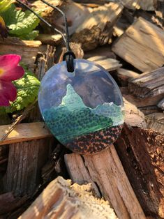 Epoxy jewelry made of resin medallion from a sunken mountain landscape … – Harzblick – Epoxy Dread Jewelry, Boho Jewelry, Unique Jewelry, Jewellery, Wood Tags, Linseed Oil, Mountain Landscape, Women's Earrings, Resin Necklace