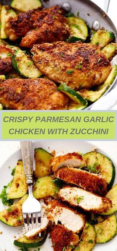 Crispy Parmesan Garlic Chicken with Zucchini is a fantastic one pan meal that the family will love! The chicken is so tender and breaded wi. Garlic Parmesan Chicken, Chicken Zucchini, Chicken Pasta, Cooking Recipes, Healthy Recipes, Healthy Meals, Healthy Food, Baked Chicken Recipes, Main Dishes