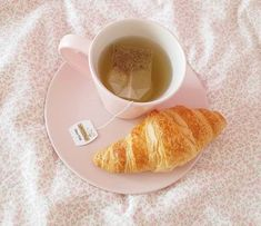 Tea and a croissant Breakfast At Tiffanys, Morning Breakfast, Royal Tea Parties, Pink Water Bottle, Strawberry Milk, No Bake Treats, Sweet Cakes, Something Sweet, Cute Food