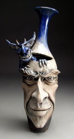 ronbeckdesigns: Mitchell Grafton - Demon Inside Face Jug Ceramic Sculpture