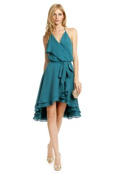 6b08b365183f Haute Hippie Teal Time Ruffle Dress. Rent for  75! Also in RED!