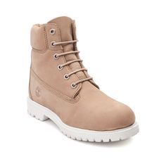 """Blending outdoor performance with casual inspiration, the 6"""" Premium Boot from Timberland delivers rugged durability with classic comfort. Crafted with premium nubuck leather uppers and seam-sealed construction to keep your feet dry, these boots also feature rugged rubber lug outsoles for exceptional traction and a cushioned EVA midsole for all-day comfort. Available for shipment in January; Pre-order yours today!    Features include   Premium full-grain waterproof nubuck upper provides..."""