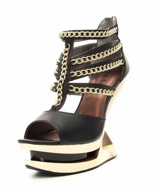 Hades Nika Sexy Peep Toe Iceberg Spiked Wedge Strappy Gold Chain High Heel Shoes #Hades #PlatformsWedges