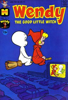 Wendy the Good Little Witch and Casper watch a drive-in movie, 1962 vintage comic book.