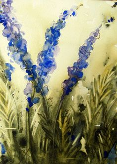 Lavender Watercolor Painting with Copper Easel  5 x 7 Original Botanical Art. $45.00, via Etsy.