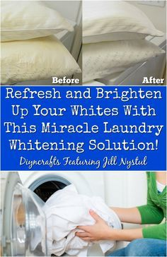 Refresh and Brighten Up Your Whites With This Amazing DIY Whitening Solution!  http://www.diyncrafts.com/17980/lifehacks/refresh-brighten-whites-amazing-diy-whitening-solution-2