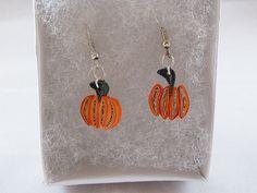 Pumpkin Quilled Paper Earrings $8.00