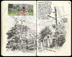 Travel sketchbook page - Raining in Bayaguana - 38 by Sketchbuch