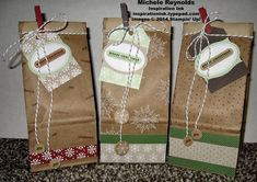 """Hand-stamped Christmas gift bags using Stampin' Up! products - Many Merry Stars Photopolymer Stamp Set, Teeny Tiny Wishes Stamp Set, Petite Cafe Gift Bags, 3/4"""" Circle Punch, 1/2"""" Circle Punch, Trim the Tree Designer Series Paper Stack, Under the Tree Tag a Bag Accessory Kit, and Perfect Polka Dots Embossing Folder.  By Michele Reynolds, Inspiration Ink, http://inspirationink.typepad.com/inspiration-ink/2014/12/tie-one-on-pinworthy-blog-tour.html."""