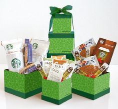 Coffee Gift Baskets - California Delicious Starbucks Signature Gift Tower. Send your greatest appreciation this holiday season with this impressive Starbucks coffee gift tower.
