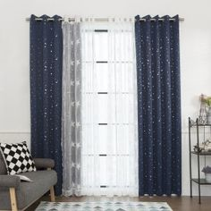 Shop for Aurora Home Mix & Match Star Struck Blackout and Star Sheer Curtain Panel Set - 52 x Get free delivery On EVERYTHING* Overstock - Your Online Home Decor Outlet Store! Blackout Curtains, Drapes Curtains, Curtain Panels, Bedroom Curtains, Star Wars Curtains, Bedroom Themes, Bedroom Decor, Star Wars Bedroom, New Room