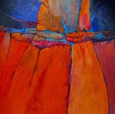 "Daily Painters Abstract Gallery: Geological Abstract Painting ""Grand Canyon II"" by Colorado Mixed Media Artist Carol Nelson"