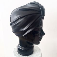 Handcrafted and lined CL Stella Turban in Black Stretch Leatherette. Turbans, Side View, Cl, Headbands, Dubai, High Fashion, Sculpture, Statue, Paris