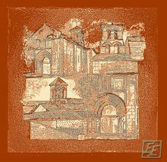 Plaizac, Roman church. France. Artist's print. 106.