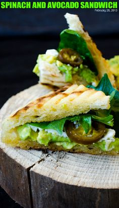 Spinach and avocado sandwich. A very healthy yet tasty sandwich with avocado, spinach, feta and jalapeno.