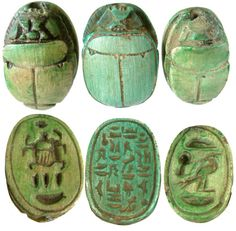 SCARAB: Ancient Egyptian Green Limestone Scarabs, According to ancient Egyptian myths, the sun (Ra) rolls across the sky each day and transforms bodies and souls. Modeled upon the Scarabaeidae family dung beetle, which rolls dung into a ball for the purposes of eating and laying eggs that are later transformed into larva, the scarab was seen as an earthly symbol of this heavenly cycle. This came to be iconographic, and ideological symbols were incorporated into ancient Egyptian society.