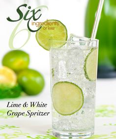 Equal parts sprite and white grape juice with lime slices - wonder what it would taste like with just sparkling water...?