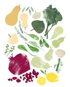 illustration, food, collage, texture, fruit, veg, printmaking, lino, print