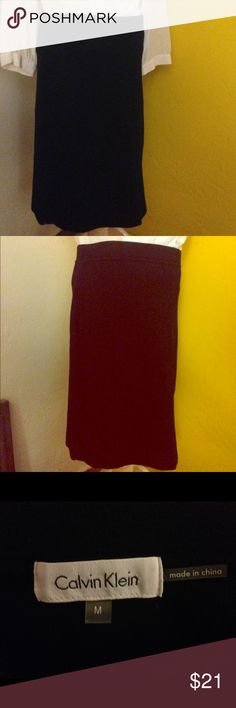 "Calvin Klein 100% Cotton Black Pencil Skirt Medium Classic black pencil skirt. 100% with layered and thick cotton. Has stretch to it for ease of movement and is very comfortable. Measures 21"" from top of Skirt. Very minimal wear, no flaws. Size is medium. Calvin Klein Skirts Pencil"