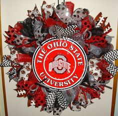 The Ohio State Univerity Mesh Wreath Football by StarlightWreaths