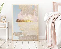 Glitter Sky wall art, home decor, art print, digital art print, downloadable art, iphone wallpaper, blush gold and sky blue,