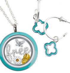 Origami Owl Earrings! matching blue enamel locket filled with a new window plate and 4 charms, and earrings, PERFECT PAIR! Both items together= $114 Sharalyn Saliger #8030 3hootsandaholler.origamiowl.com