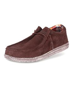 Take a look at this Chocolate Suede Wally Loafer by Hey Dude Shoes on #zulily today!