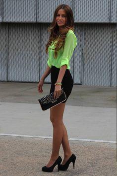 Super sexy short skirt & neon