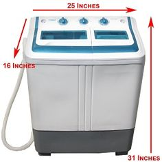 Manatee Mini Washing Machine and Spin Dryer - 11 lb. capacity for doing light to medium laundry loads. Portable washer that is perfect for small spaces.